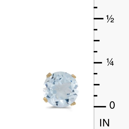 5 mm Natural Round Aquamarine Stud Earrings Set in 14k Yellow Gold Direct-Jewelry E1471X-03