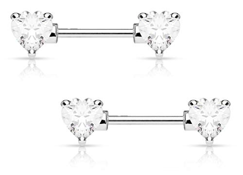 Forbidden Body Jewelry Pair of Surgical Steel 1/2 Inch Cubic Zirconia Crystal Double Heart Nipple Barbells, Clear