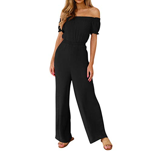 (KINGOL Womens Solid Color Jumpsuit Casual Strapless Sleeveless Short Jumpsuit Black)