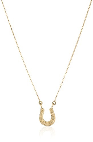 14k Yellow Gold Small Lucky Horseshoe Pendant Necklace, 17