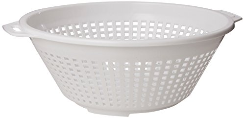 White Plastic Strainer - United Solutions KW0005 Four Quart White Plastic Colander in White -4QT Plastic Pasta Strainer in White