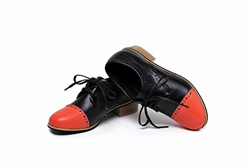 Carolbar Womens Lace Up Assorted Colours Comfort Fashion Casual Low Heel Oxfords Shoes Orange