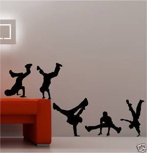 Coavas 5 People Hip-hop Street Dance Dancing Sports Living Room Wall Decal Sticker