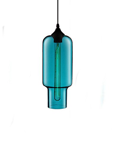 Cozyle Modern Design Pendant Hanging Lamp Colorful Glass Cage Sky Blue Glass1