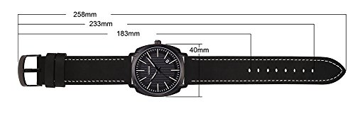 Voeons Men's Analog Auto Date Quartz Watch Genuine Black Leather Strap Waterproof Casual Watch Photo #2
