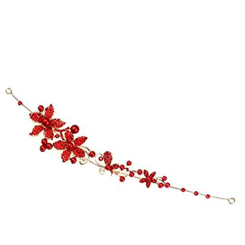 Ikevan 2017 Rhinestone Bridal Flower Imitation Pearls Headband Hair Clip Comb New (Red)