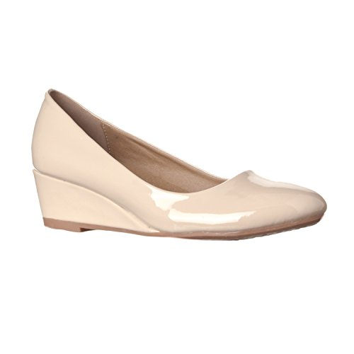 Nude Patent Women's Height Riverberry Alice Wedge Pumps Low Round Toe 8fqFS