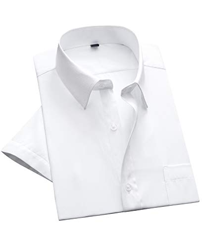 - Alimens & Gentle Twilled Texture Bussiness Men's Dress Shirt Short Sleeve Regular Fit - Color: White, Size: Small - 14.5