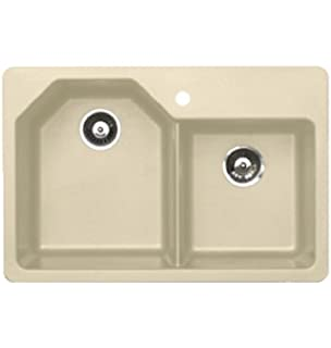 Pegasus AR20SA 33 Inch By 22 Inch Offset Granite Double Bowl Kitchen Sink,