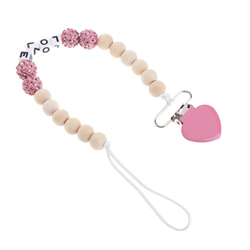 Loair Bling Pacifier Chain For Nipples Chupetas Para Bebe Pacifier Clips - Necklace Silicone Chain Soother Holder Chain For baby (Pink) Bling Handle Pacifier