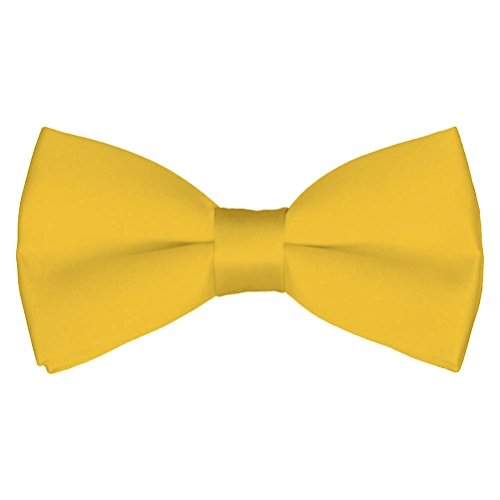 Mens Classic Open Untied Satin Formal Tuxedo Bowtie Adjustable Length Large Variety Colors Available, by Platinum Hanger (Yellow)