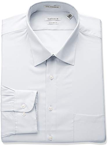 Van Heusen Men's Herringbone Regular Fit Solid Spread Collar Dress Shirt, White, 16.5