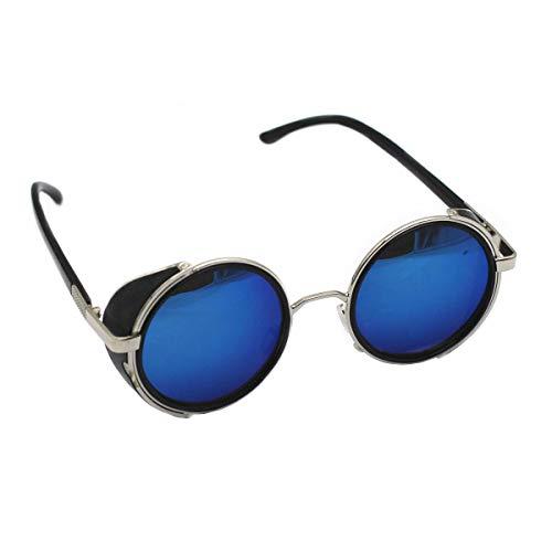 bcfd432b89 Mirror lens Round Glasses Cyber Goggles Steampunk Sunglasses Vintage  Retro(Silver Frame Green Blue Mirror