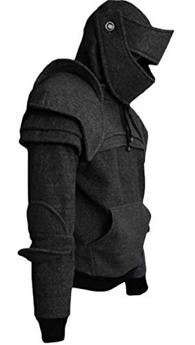 Pandapang Mens Solid Tops Mask Hoodie Knight Performance Clothes Sweatshirts Black L ()