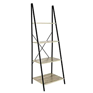 C-Hopetree Ladder Shelf Bookcase - Bookshelf - 4 Tier Plant Stand - Black Metal Frame.