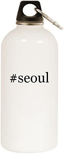 Molandra Products #Seoul - White Hashtag 20oz Stainless Steel Water Bottle with Carabiner