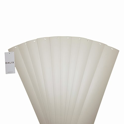 DALIX PVC Veritcal Blind Replacement Slats Curved Smooth Ivory 82.5 x 3.5 - Vertical Slate