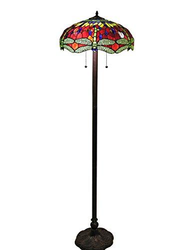 Warehouse of Tiffany 305R/16FLR Scarlet Tiffany-Style Dragonfly Floor Lamp, 18