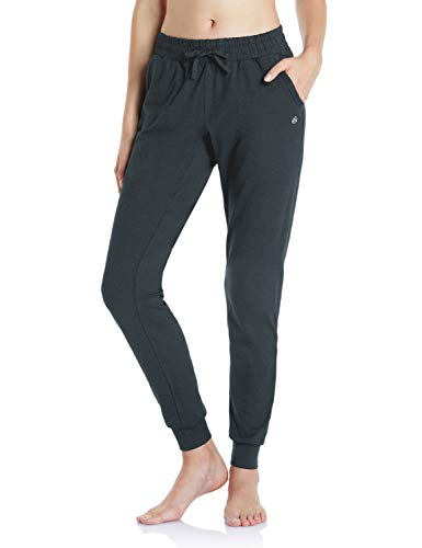 TSLA Loungewear Long Tapered Fit Soft Peachskin Running Casual Yoga Active with Pockets, Tapered Fit(fbp70) - Heather Charcoal, Large