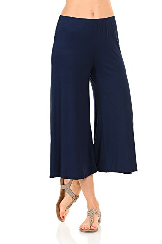 iconic luxe Women's Elastic Waist Jersey Culottes Large Navy ()