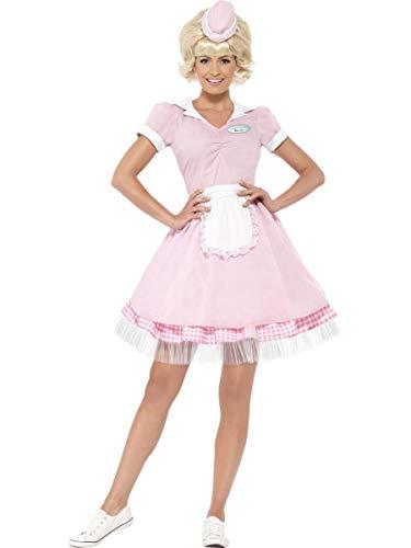 Fest Threads 2 PC Women's 50s Retro Diner Waitress Server Pink Dress & Mini Hat Party -