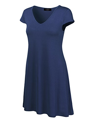Womens Sleeve Cap T-shirt 1 - Made By Johnny MBJ WDR1068 Womens V Neck Cap Sleeve T Shirt Dress XL Navy
