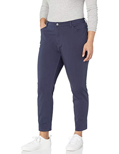 Dickies Women's Relaxed Straight Stretch Twill Pant, Navy, 22 Regular