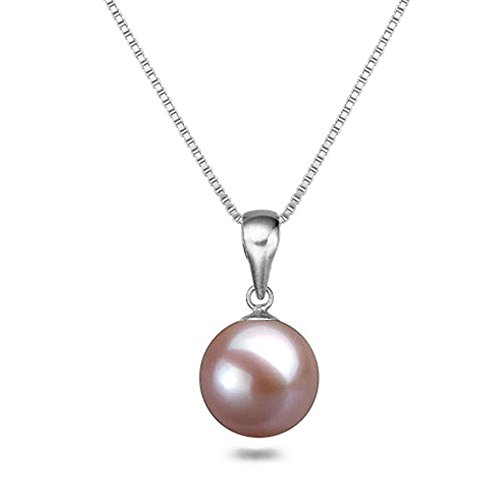 Japanese AAAA 8mm Lavender Freshwater Cultured Pearl Pendant Necklace 18 Inch Solitaire Necklace Pendant
