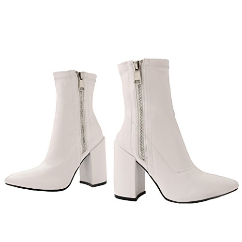 Public Desire Womens Renzo Sock Fit Pointed Ankle Boots Exposed Zip Shoes White PU UK 8/EU 41/US 10 from Public Desire