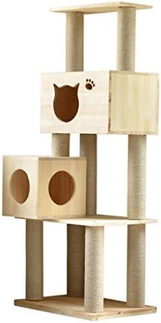 猫の木と塔、木のモダンな猫の塔、猫の活動のための5つのレベル、猫の家具、豪華なアパートと猫のジャンプ台 (Size : 60x40x140cm)