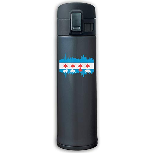 Stainless Steel Vacuum Flask Chicago Flag Skyline Bear Sports Drinking Bottle With Bounce Cover Navy ()