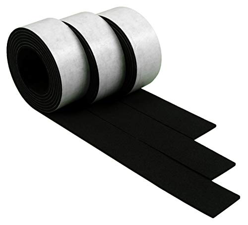 XCEL - Weather Stripping Foam Rubber Tape with Adhesive, 3 Strips Totaling 13 Feet x 1 Inch x 1/16 Inch
