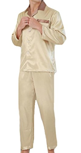 AngelSpace Mens Large Size Charmeuse Premium Slim Casual Sleepwear Set golden