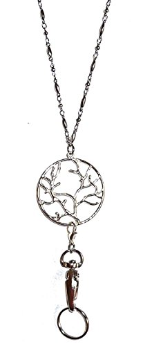 "Trendy Women's Fashion Lanyard and Necklace 34"" long, Chain Lanyard, For Keys, Badge holder. (Tree of Life - Silver)"