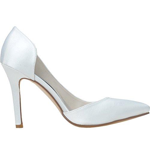 Loslandifen Plate-forme De Femmes Satin Bout Pointu Stiletto Talons Hauts Sandales Blanc