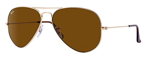 Authentic Ray-Ban Aviator 3025 RB3025 001/33 55mm Gold Frame / Brown Lens - Ray Ban Small Sunglasses Aviator