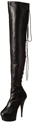 Leather Str Delight Blk Faux Negro Pleaser Negro Botines para Mujer Blk 3063 H8AwqvxO