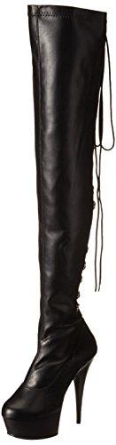 Faux clásicos por Rodilla y DELIGHT 3063 Blk Leather la Negro Blk Botines Str Pleaser Forro Botas Negro Encima de sin Mujer YvxXnn