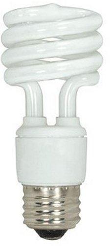 (Satco S7411 13-Watt Medium Base T2 Mini Spiral, 2700K, 120V, Equivalent to 60-Watt Incandescent Lamp for Enclosed Fixtures)