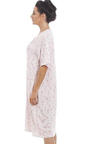 Rosa Camicia misto da tessuto Camille cotone maniche rosa stampa a floreale notte corte 7UBxwqdf