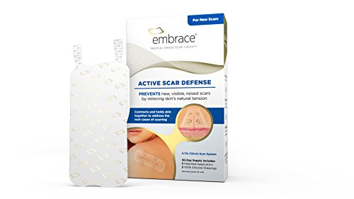 Embrace Scar Treatment, Silicone Sheets for New Scars with Active Scar Defense, Large 4.7 Inch Sheets, 3 Count, Initial Half Treatment (30 Day Supply)