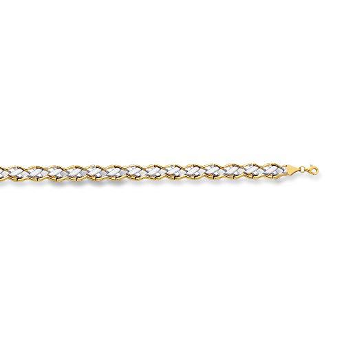 14K Yellow & White Gold Shiny Textured Graduated Two Tone Bracelet 7.25