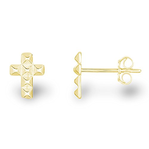 14k Yellow Gold Plated Sterling Silver Matte Finish Mini Latin Cross Stud Earrings
