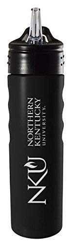 LXG, Inc. Northern Kentucky University-24oz. Stainless Steel Grip Water Bottle with Straw-Black ()