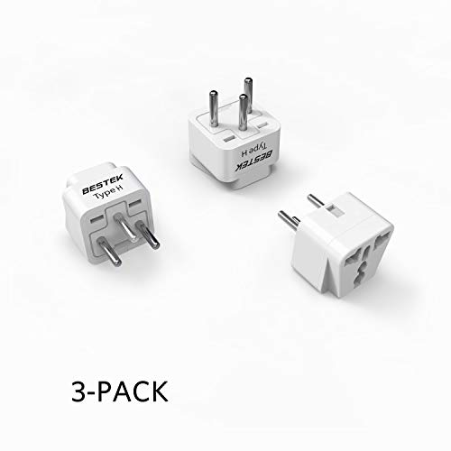BESTEK Israel Travel Plug Adapter, Grounded Universal Type H Plug Adapter Israel to US Adapter - Ultra Compact for Israel, Palestine and More, 3 Pack