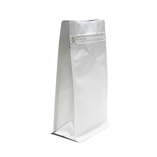1 Lb Foil Bag (AwePackage 12 oz Resealable Box Pouch Coffee Bag with valve - Flat Bottom Pull Tab Zipper (50, Matte White))