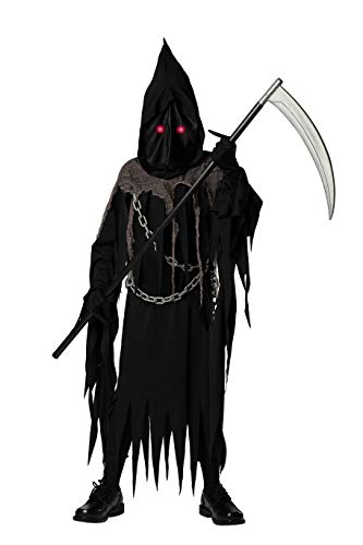 Extremely Scary Halloween Costumes (Bad Bear Brand Deluxe Grim Reaper Halloween Costume for Kids, 10-12, Scary Long Black Robe, Light-Up LED Eyes, Pointed Finger Gloves, and Spooky Plastic)