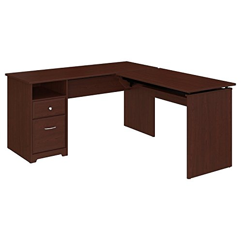 - Bush Furniture Cabot 60W 3 Position L Shaped Sit to Stand Desk in Harvest Cherry