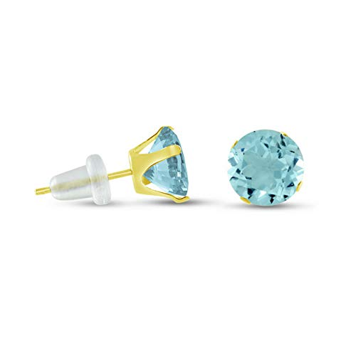 Crookston 10K Yellow Gold Round Stud Earrings - Aqua - Choose Your Size 2mm - 10mm | Model ERRNGS - 15116 | 8mm - 2XL Large