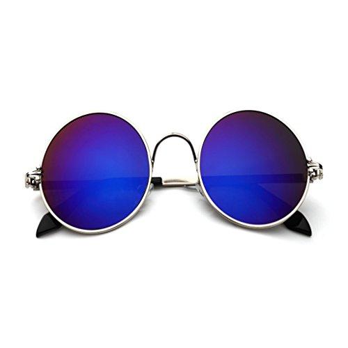 YONGLIANG Outdoor-Zubehör Tinte Runden Rahmen Prince Spiegel Runden Sonnenbrille Männer Und Frauen Retro-Sonnenbrille UV-Sonnenbrille Strand Reise Unerlässlich (Color : Light blue) (Retro-spiegel-sonnenbrille)